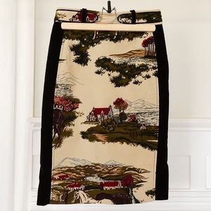 Anthropologie Cartonnier velvet stable skirt